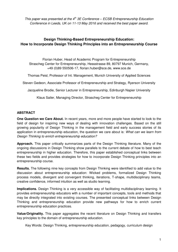 pdf) design thinking-based entrepreneurship
