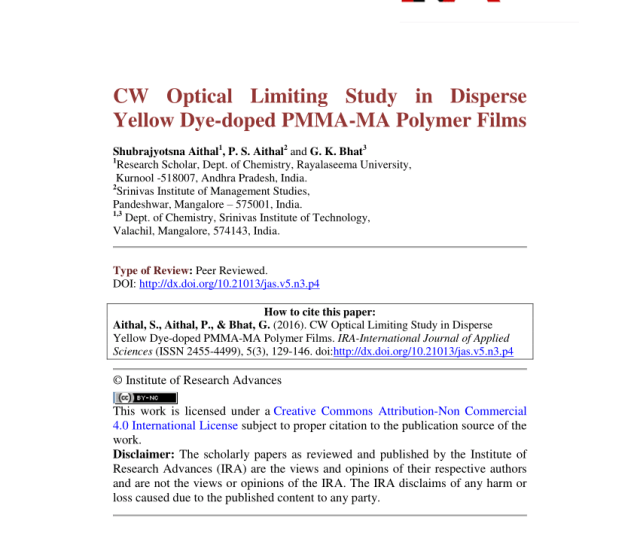 Pdf Cw Optical Limiting Study In Disperse Yellow Dye Doped Pmma Ma Polymer Films
