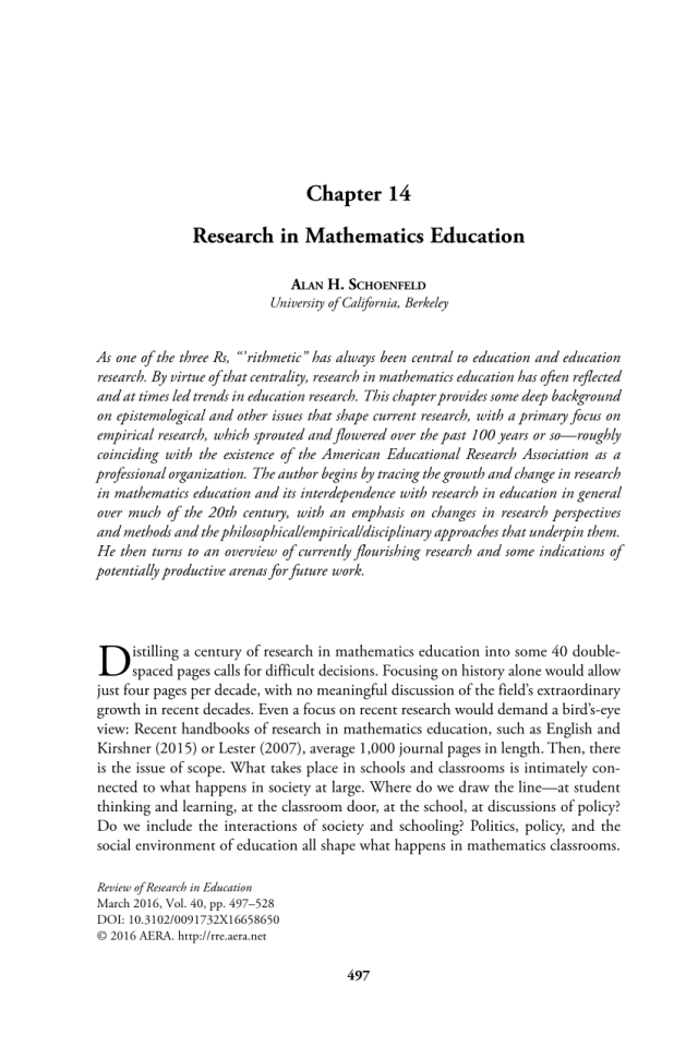 PDF) Research in Mathematics Education