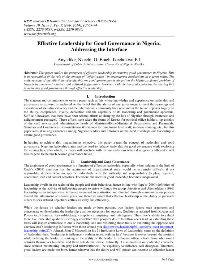 PDF) Effective Leadership for Good Governance in Nigeria