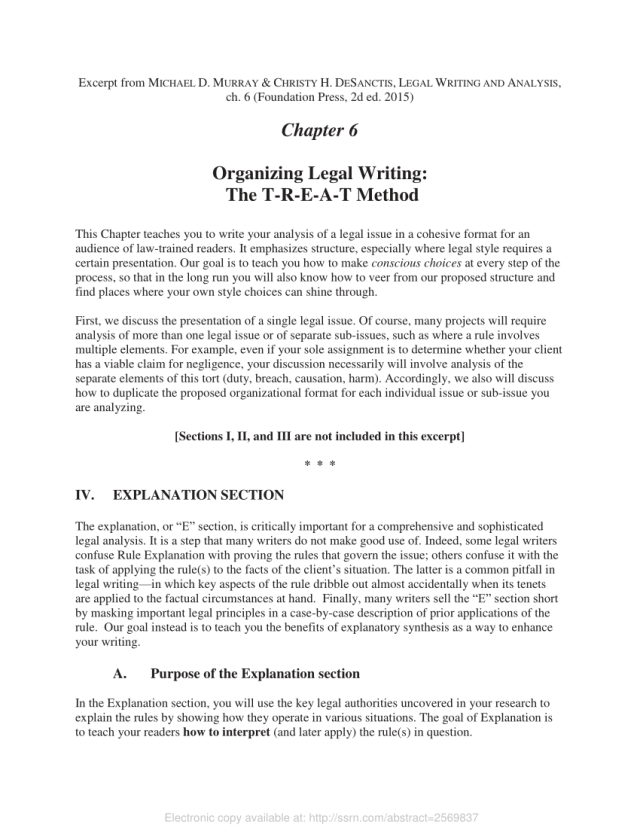 PDF) Organizing Legal Writing: The T-R-E-A-T Method - Explanation