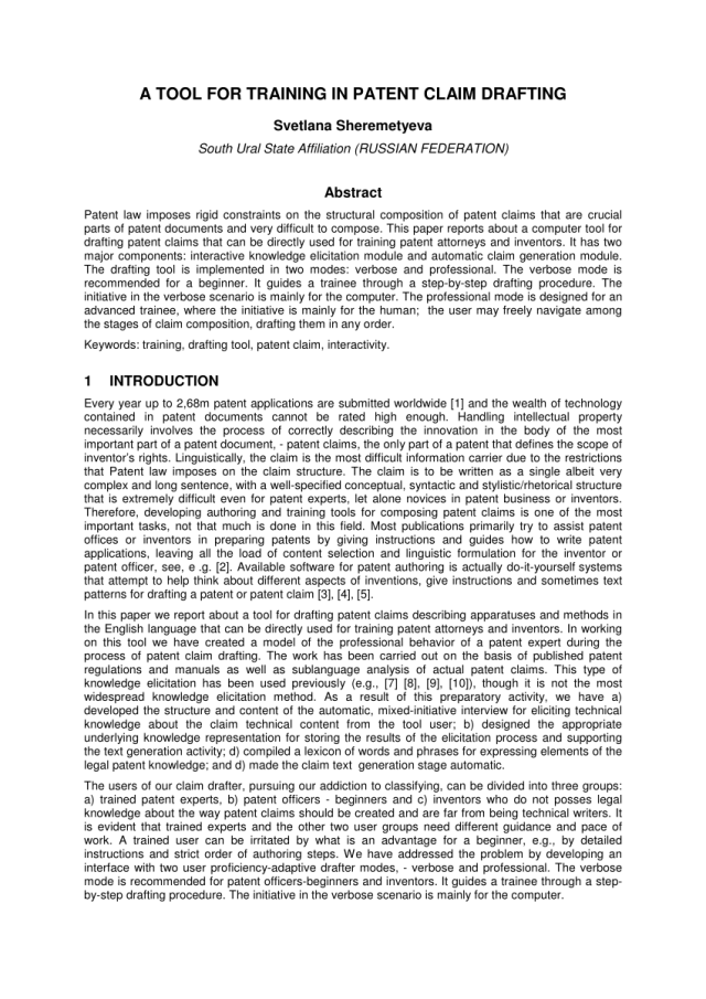 PDF) A TOOL FOR TRAINING IN PATENT CLAIM DRAFTING