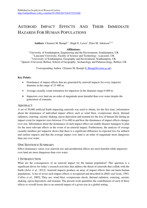 (PDF) Asteroid Impact Effects And Their Immediate Hazards ...