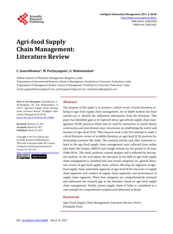 (PDF) Agri-food Supply Chain Management: Literature Review