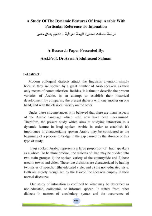 PDF) A Study Of The Dynamic Features Of Iraqi Arabic With