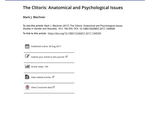 Pdf The Clitoris Anatomical And Psychological Issues
