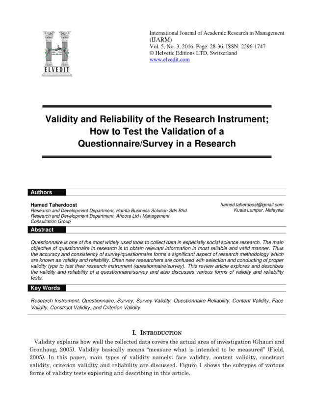PDF) Validity and Reliability of the Research Instrument; How to