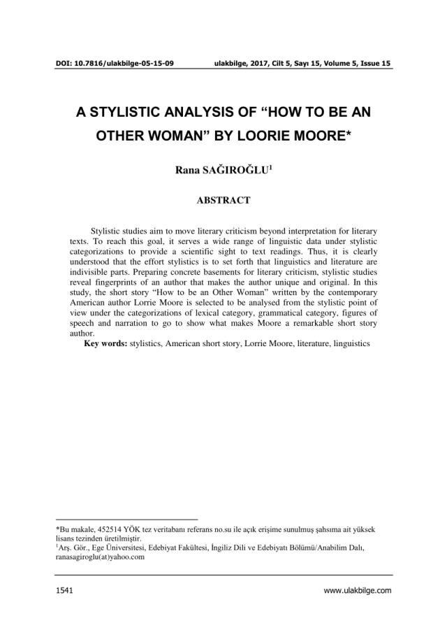 """PDF) A STYLISTIC ANALYSIS OF """"HOW TO BE AN OTHER WOMAN"""" BY LORRIE"""