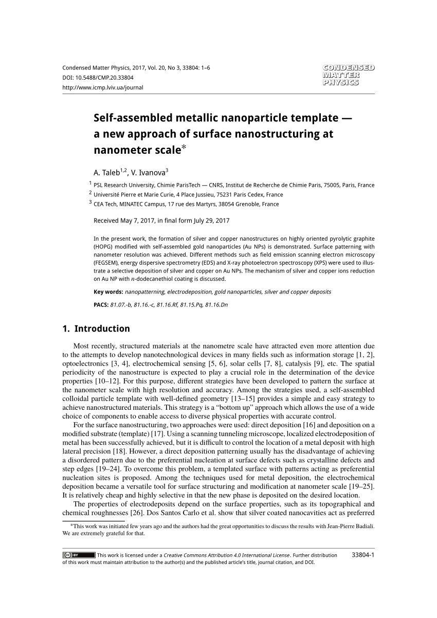 Pdf Self Assembled Metallic Nanoparticle Template A New Approach Of Surface Nanostructuring At Nanometer Scale