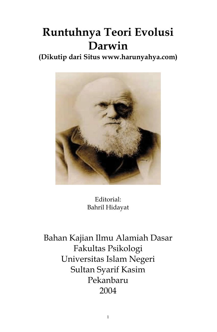 Benarkah charles darwin yang mengarang teori evolusi? (PDF) Runtuhnya Teori Evolusi Darwin [Bahan Kajian Ilmu