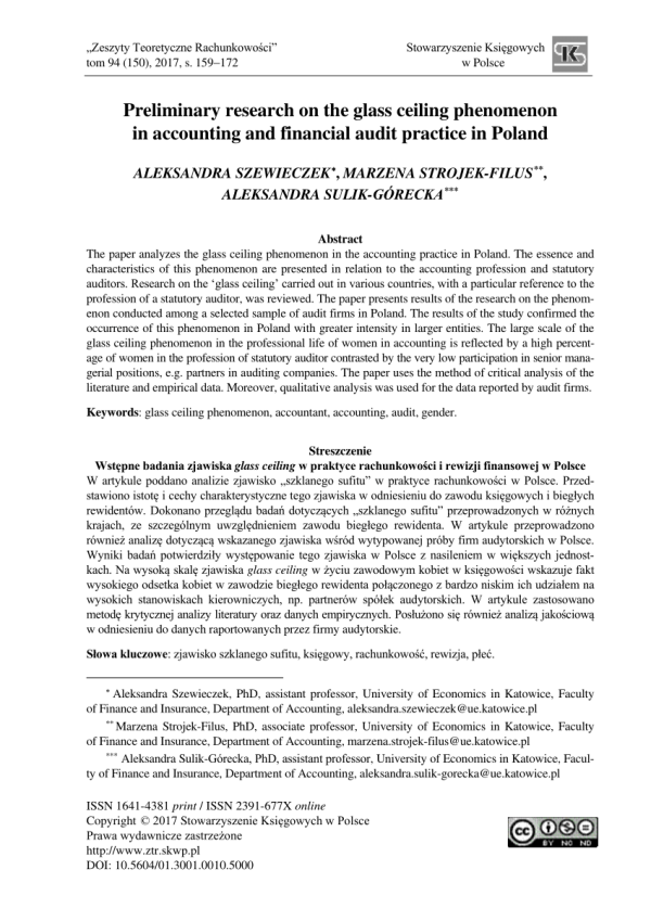 (PDF) Preliminary research on the glass ceiling phenomenon ...