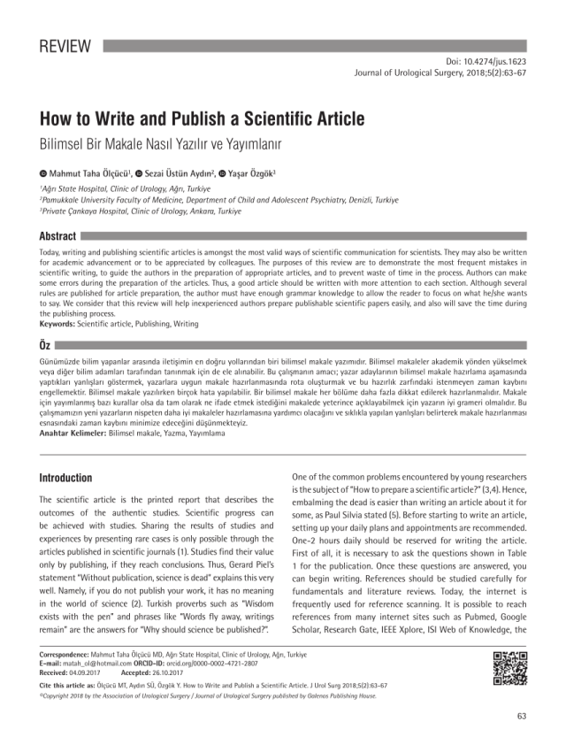 PDF) How to Write and Publish a Scientific Article