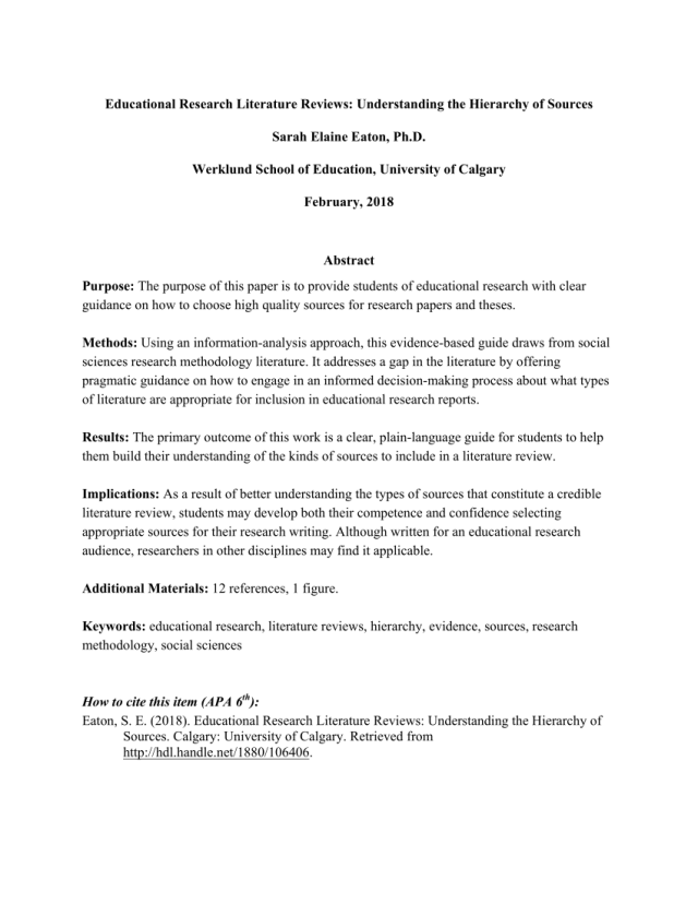 PDF) Educational Research Literature Reviews: Understanding the