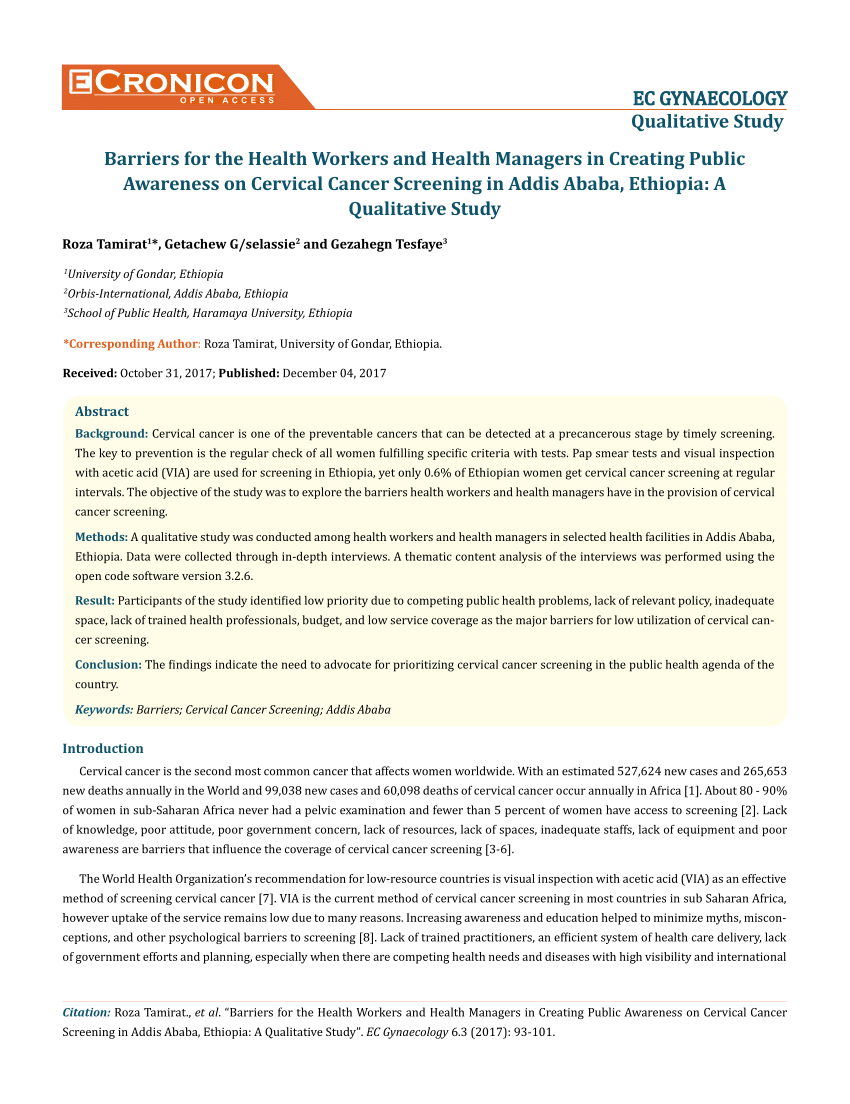 pdf an exploration of opportunities and challenges facing cervical cancer managers in kenya