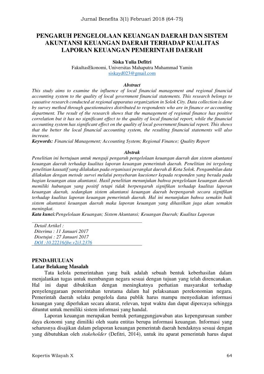 """""""proses pengidentifikasian, pengukuran, pencatatan, dan pelaporan transaksi ekonomi (keuangan) dari entitas pemerintah daerah (kabupaten, kota, atau provinsi). (PDF) PENGARUH PENGELOLAAN KEUANGAN DAERAH DAN SISTEM"""