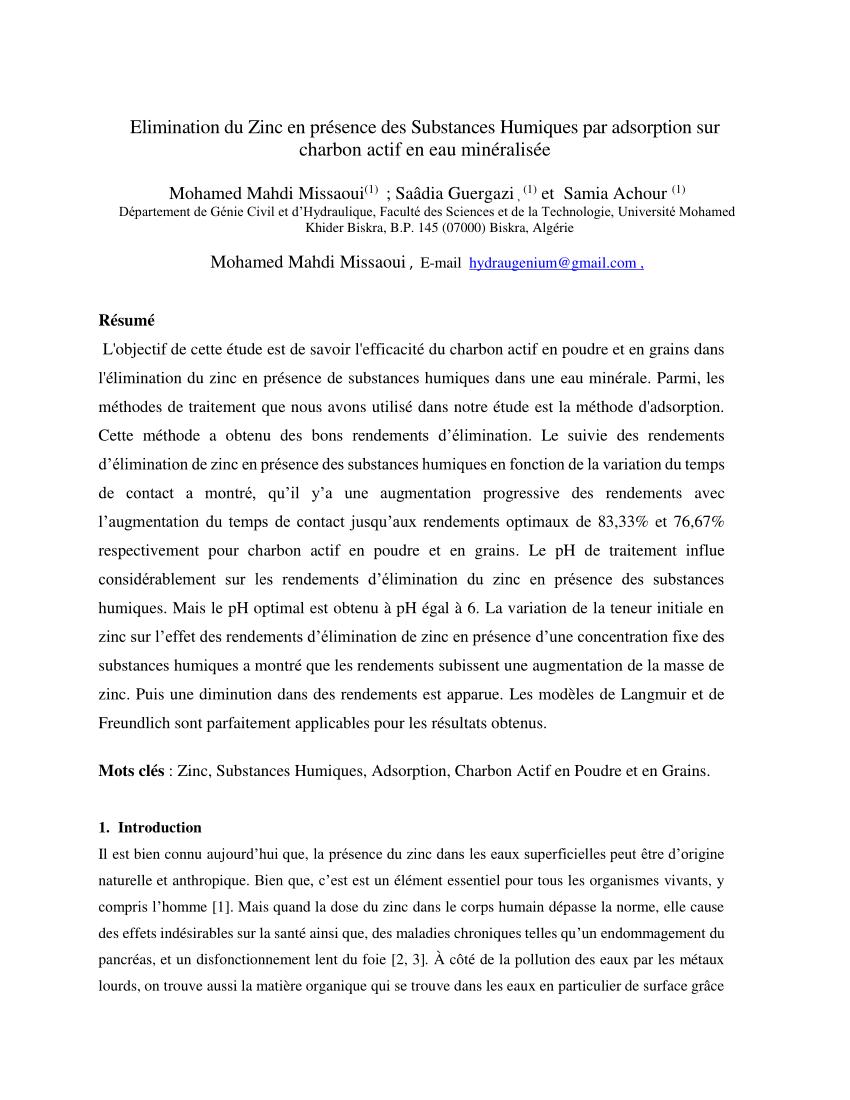 pdf elimination du zinc en presence