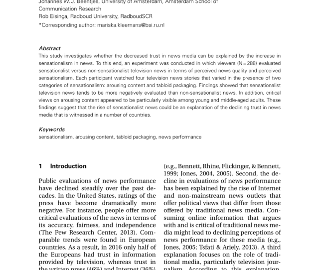 Pdf The Influence Of Sensationalist Features In Television News Stories On Perceived News Quality And Perceived Sensationalism Of Viewers In Different Age