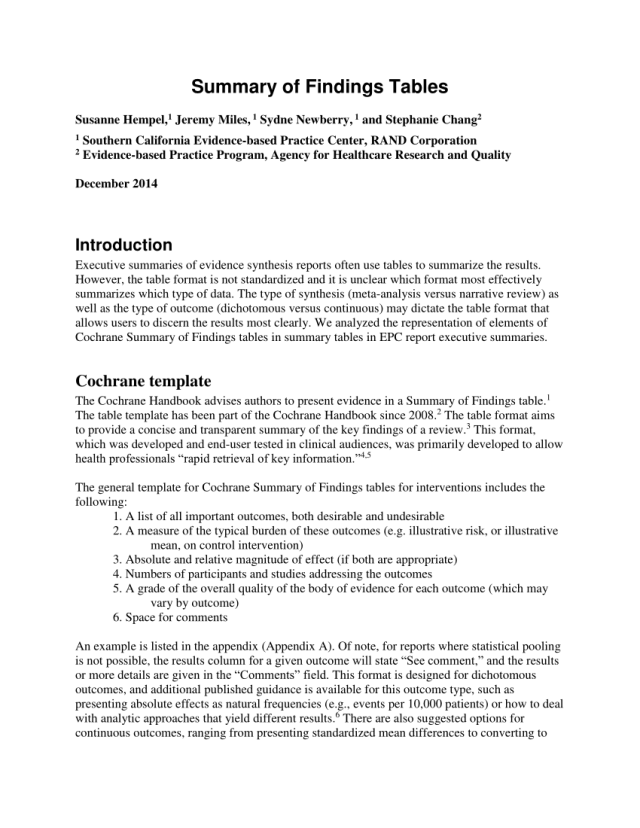 PDF) Summary of Findings Tables
