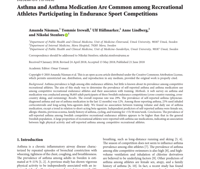 Pdf Asthma And Asthma Medication Are Common Among Recreational Athletes Participating In Endurance Sport Competitions