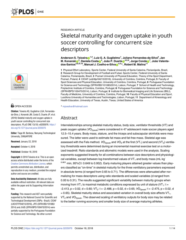 (PDF) Skeletal maturity and oxygen uptake in youth soccer ...