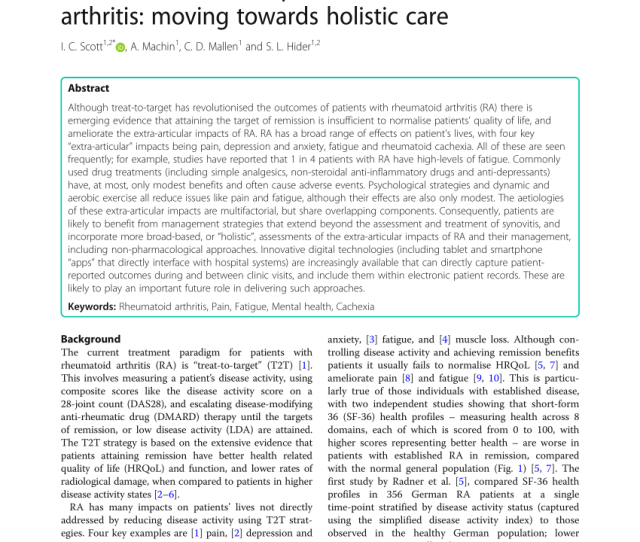 Measuring Fatigue In Rheumatoid Arthritis A Cross Sectional Study To Evaluate The Bristol Rheumatoid Arthritis Fatigue Multi Dimensional Questionnaire