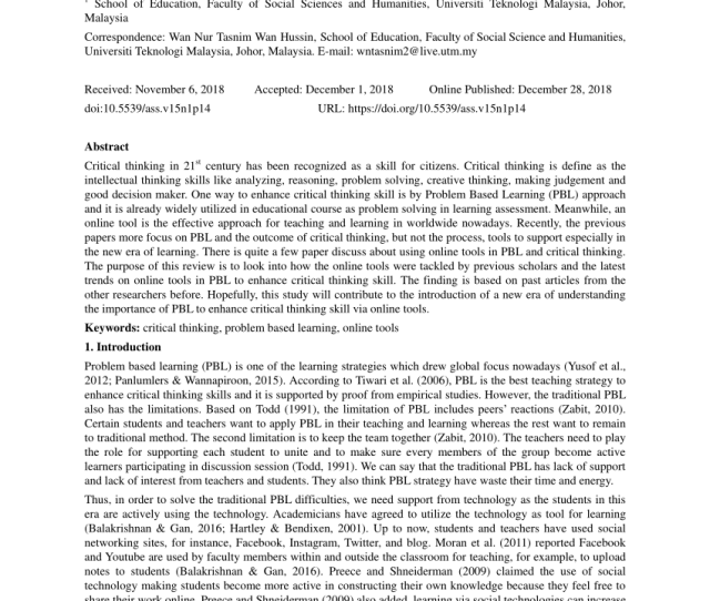 Pdf Problem Based Learning On Students Critical Thinking Skills In Teaching Business Education In Malaysia A Literature Review