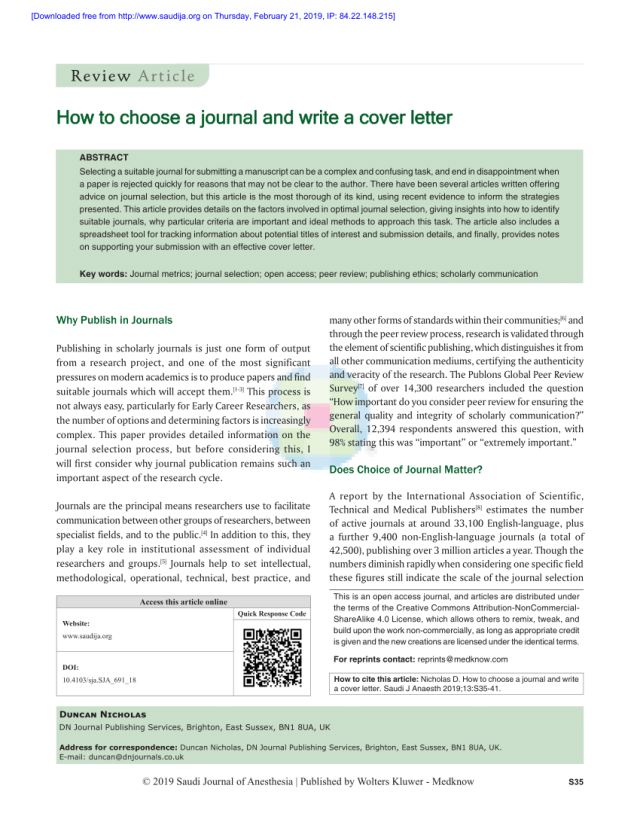 PDF) How to choose a journal and write a cover letter
