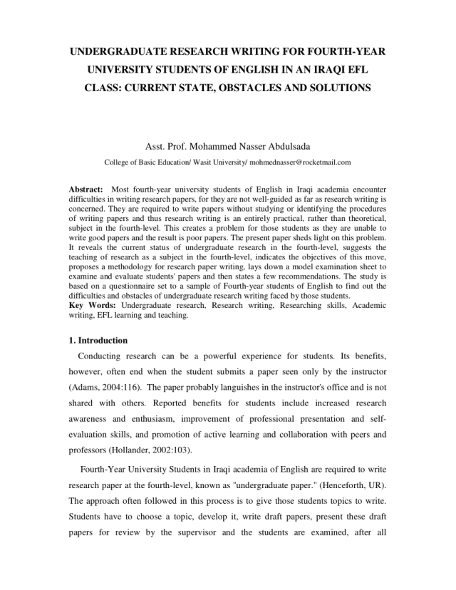 PDF) Undergraduate research writing for fourth year university