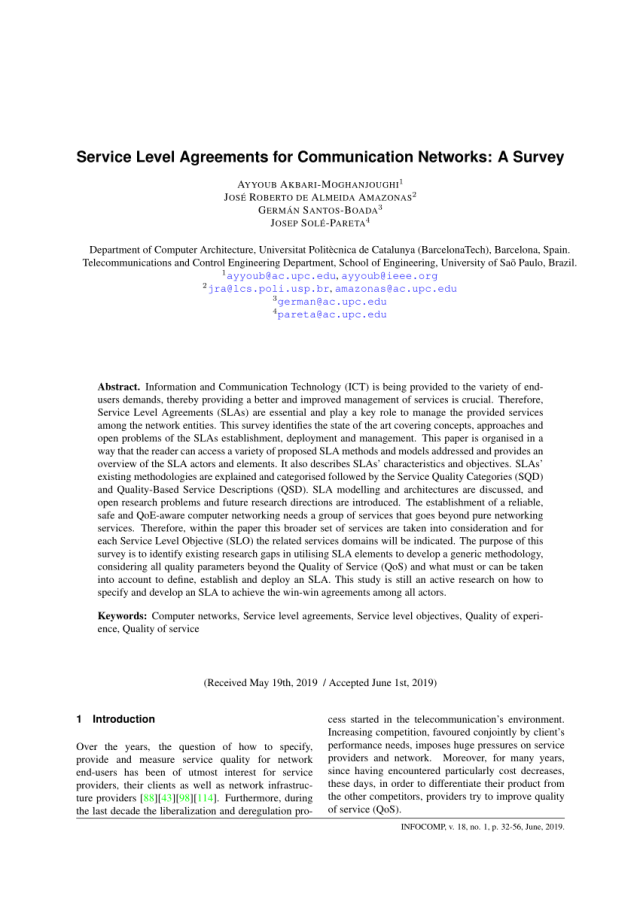 PDF) Service Level Agreements for Communication Networks: A Survey