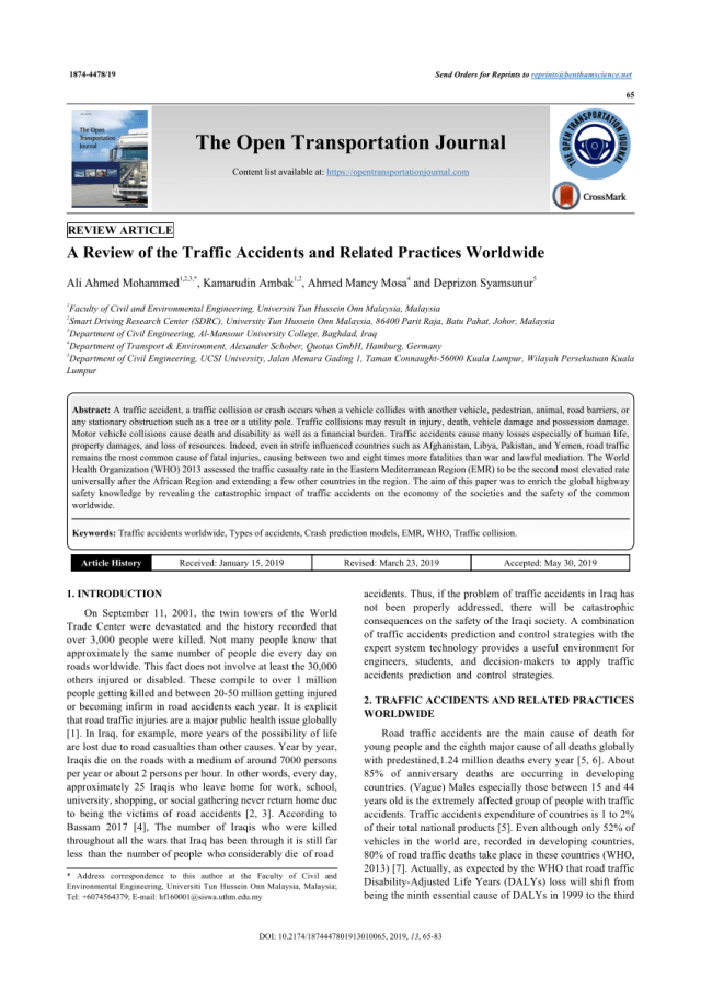 PDF) A Review of the Traffic Accidents and Related Practices Worldwide