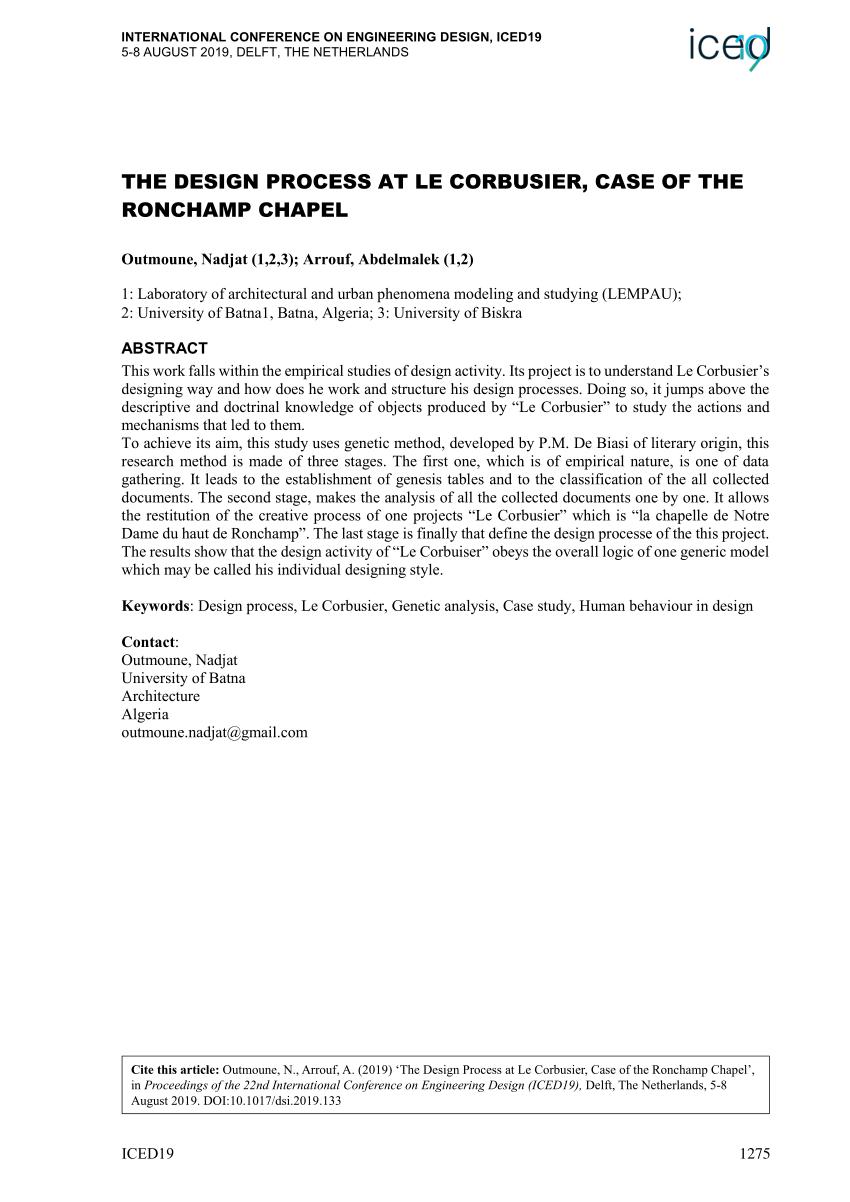 Pdf The Design Process At Le Corbusier Case Of The Ronchamp Chapel