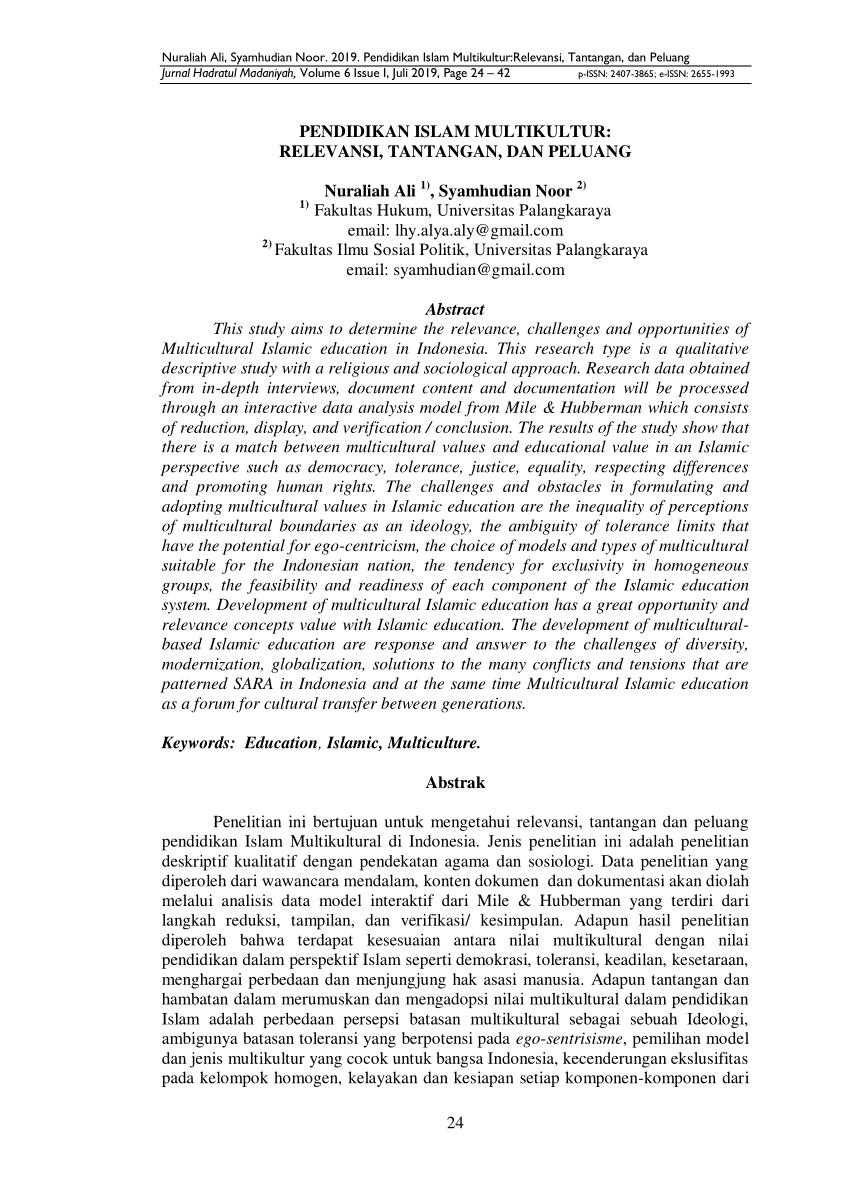 Jisa (jurnal ilmiah sosiologi agama)adalah jurnal ilmiah yang diterbitkan oleh program studi sosiologi agama, fakultas ilmu sosial, uin sumatera utara medan. (PDF) Pendidikan Islam Multikultur: Relevansi, Tantangan