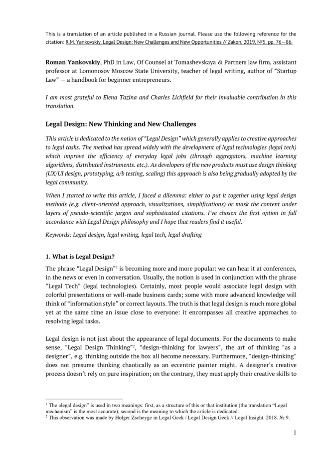 PDF) Legal Design: New Thinking and New Challenges