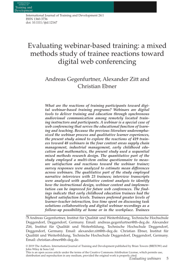 PDF) Evaluating webinar-based training: A mixed methods study of