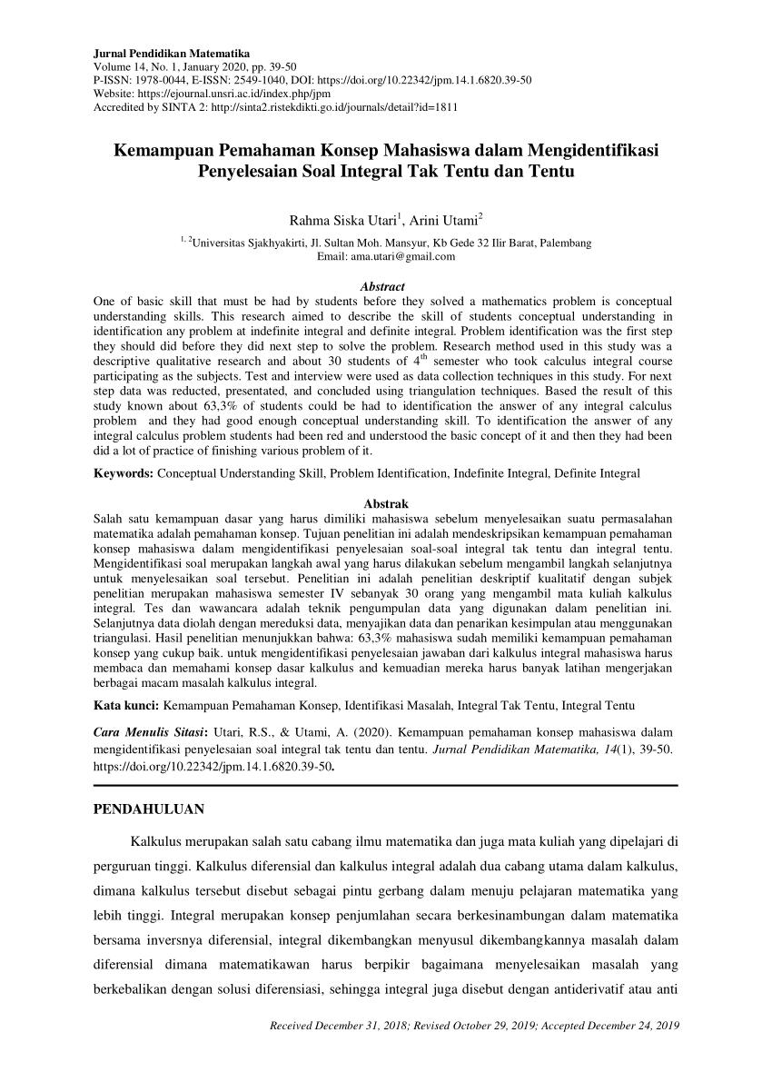 Berikut informasi sepenuhnya tentang contoh soal kalkulus 1 dan penyelesaiannya pdf. Pdf Kemampuan Pemahaman Konsep Mahasiswa Dalam Mengidentifikasi Penyelesaian Soal Integral Tak Tentu Dan Tentu