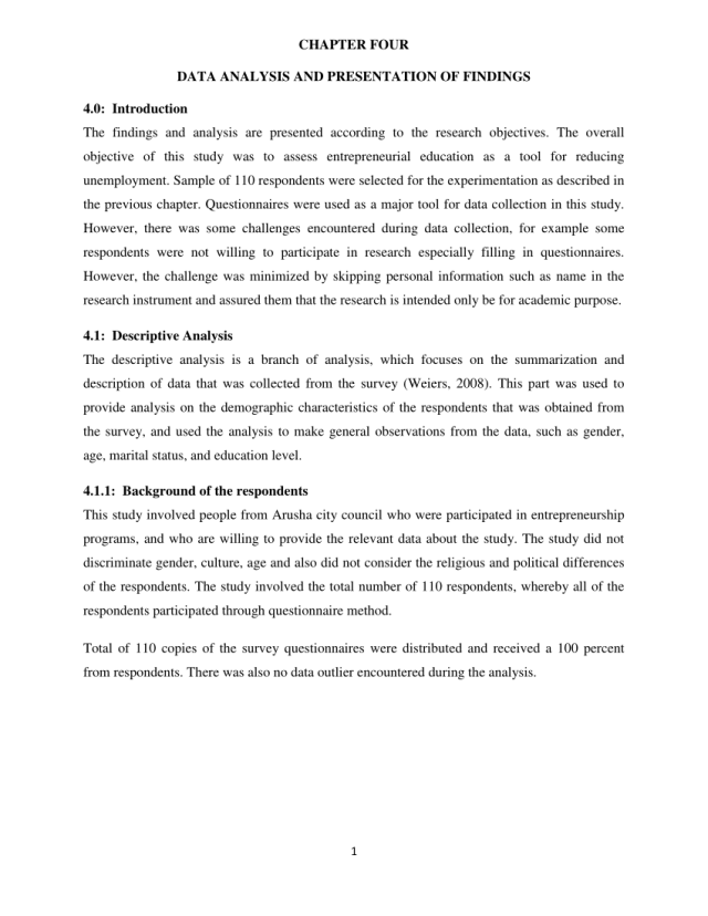 PDF) CHAPTER FOUR DATA ANALYSIS AND PRESENTATION OF FINDINGS