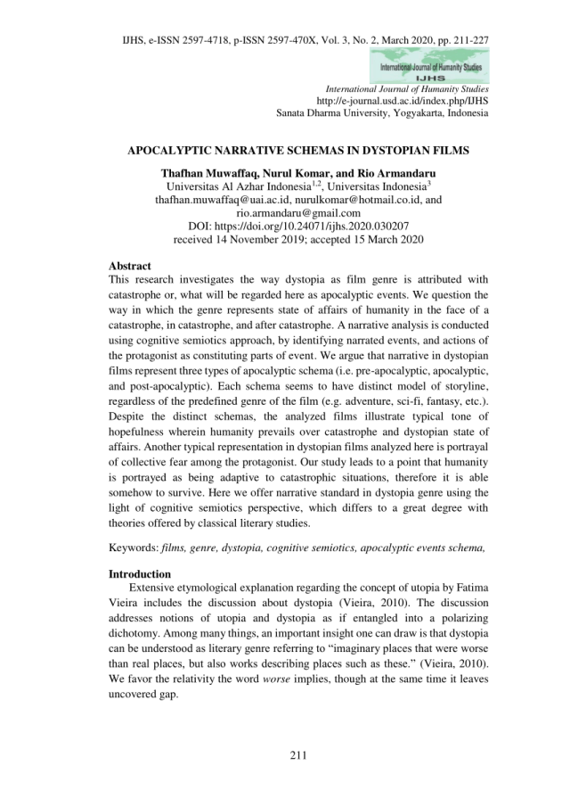 PDF) APOCALYPTIC NARRATIVE SCHEMAS IN DYSTOPIAN FILMS