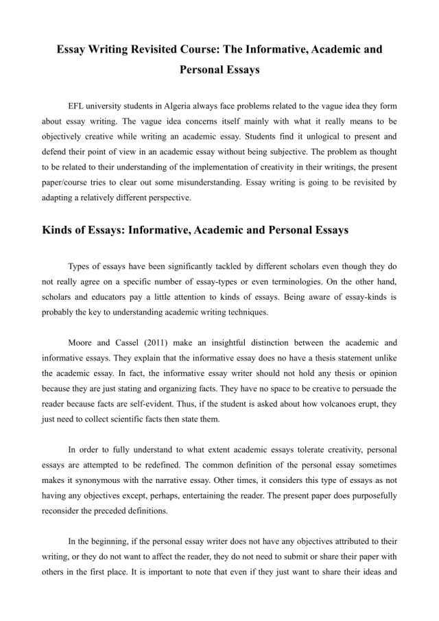 PDF) Essay Writing Revisited Course: The Informative, Academic and