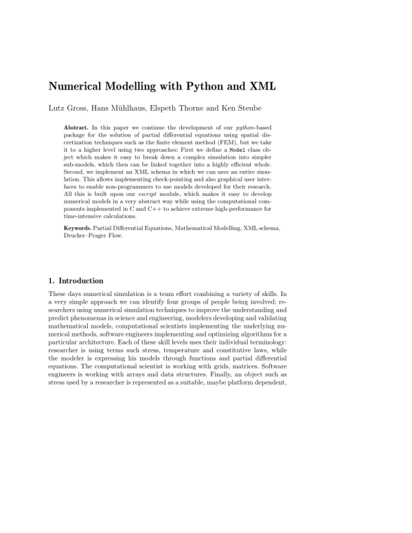 (PDF) Numerical Modelling with Python and XML