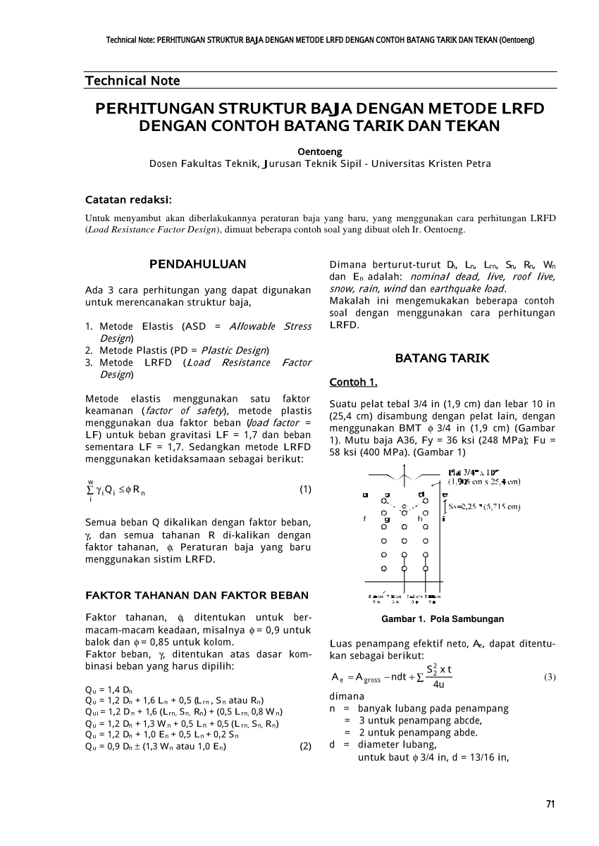 Struktur baja (3 sks) (created 24/1/07) semester ii/06_07; Pdf Perhitungan Struktur Baja Dengan Metode Lrfd Dengan Contoh Batang Tarik Dan Tekan