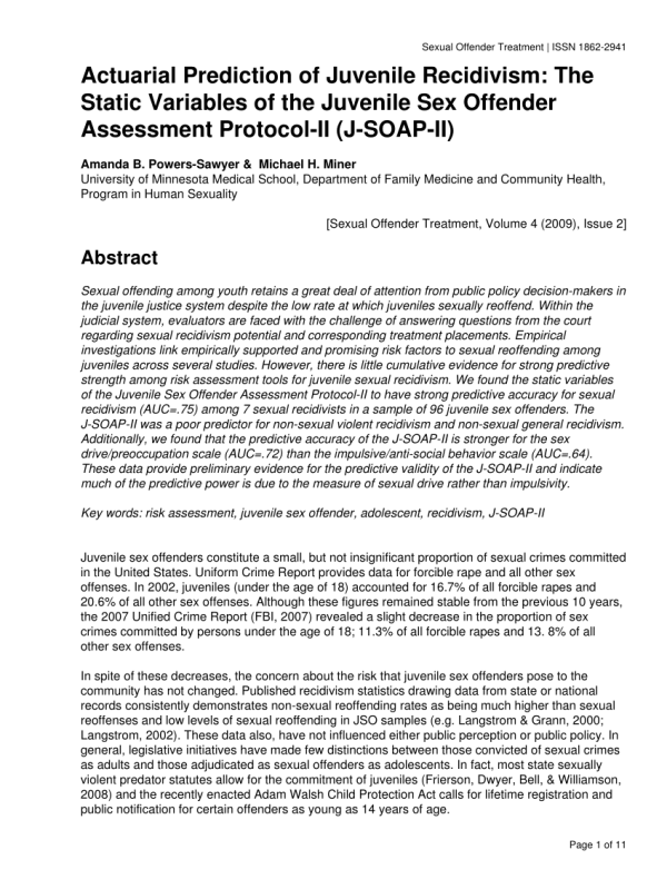 (PDF) Actuarial Prediction of Juvenile Recidivism: The ...