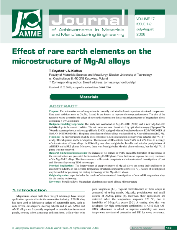 Effect of rare earth elements on the microstructure of Mg ...