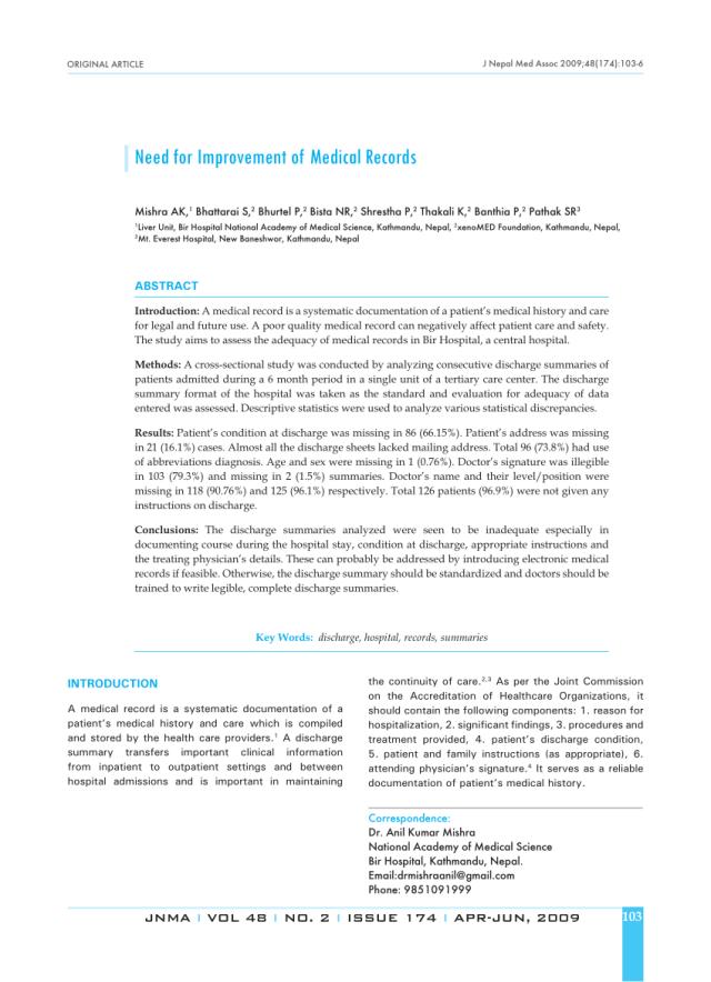 Pre-formatted discharge summary  Download Scientific Diagram