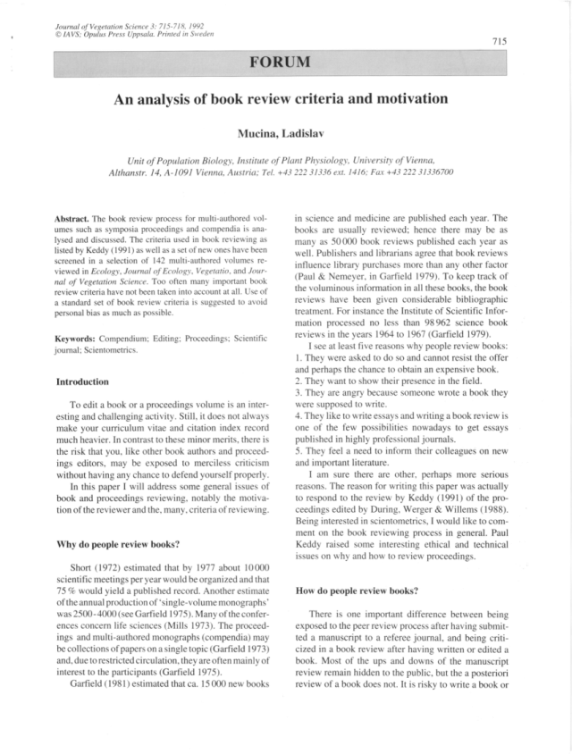 PDF) An analysis of book review criteria and motivation