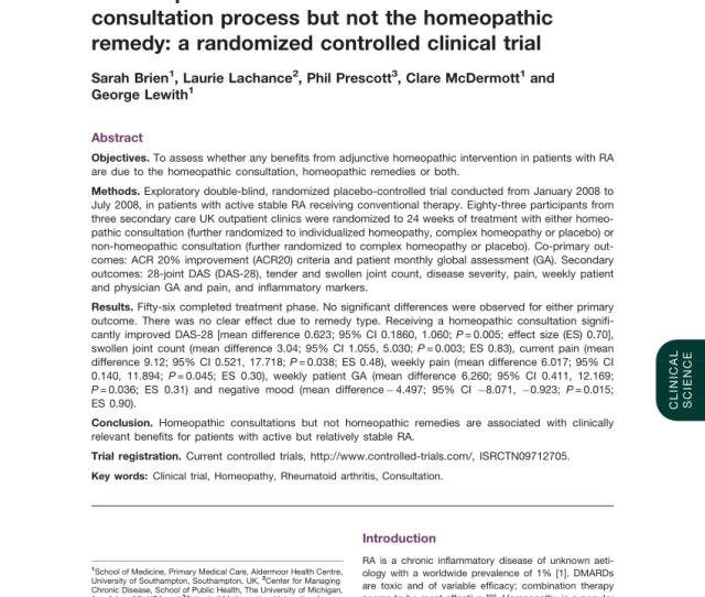 Pdf Homeopathy Has Clinical Benefits In Rheumatoid Arthritis Patients Which Are Attributable To The Consultation Process Not The Homeopathic Remedy