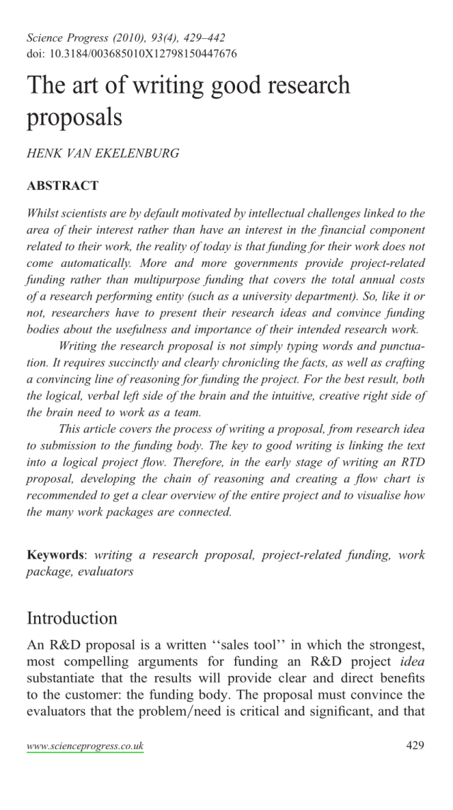 PDF) The Art of Writing Good Research Proposals