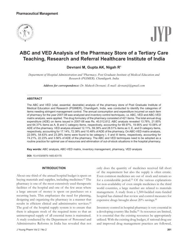 (PDF) ABC and VED Analysis of the Pharmacy Store of a ...