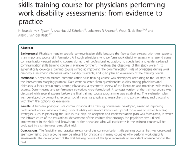 Pdf Systematic Development Of A Communication Skills Training Course For Physicians Performing Work Disability Assessments From Evidence To Practice