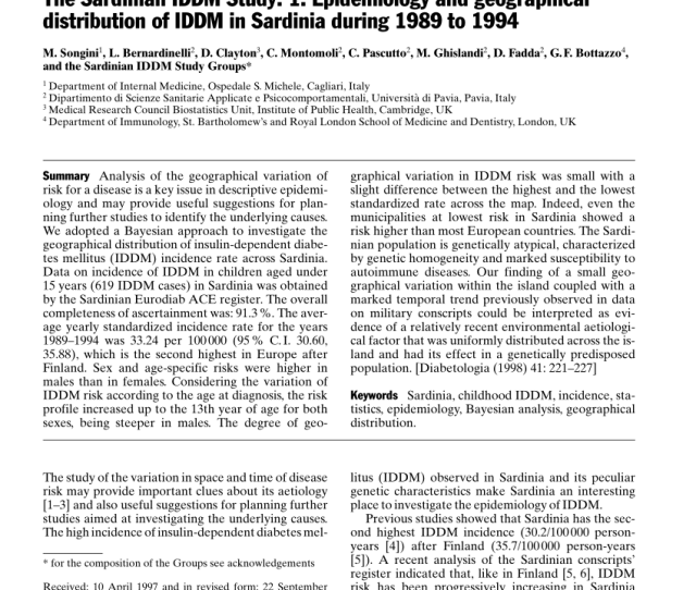 Pdf The Sardinian Iddm Study  Epidemiology And Geographical Distribution Of Iddm In Sardinia During