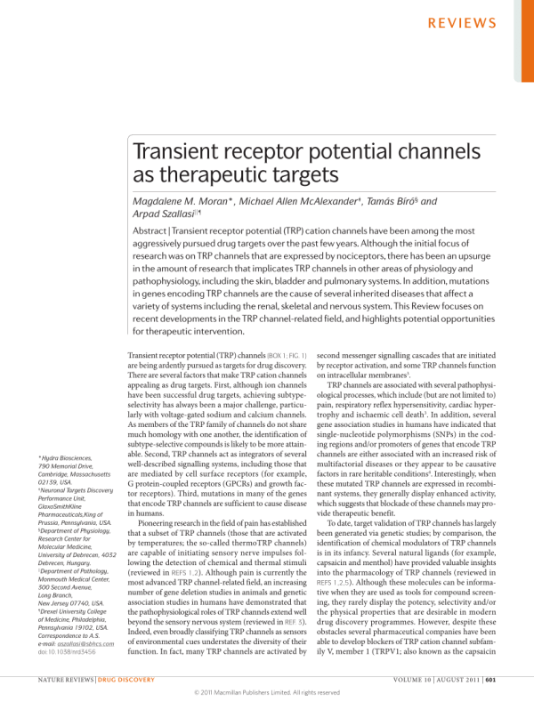 (PDF) Transient receptor potential channels as therapeutic ...